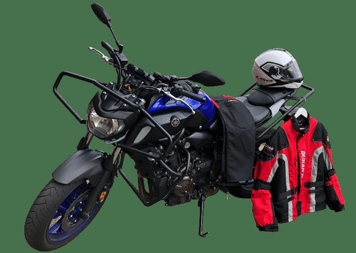 Motor met kleding